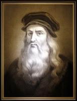 Le seul autoportrait de Léonard de Vinci, le vrai. Il s'agit d'un fac-similé emprunté à la Bibliothèque Royale de Turin.