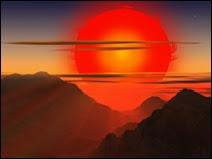 Illustration de la phase géante rouge du Soleil. Il sous-tendra un angle de 69° dans le ciel ! Document T.Lombry.