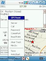 Aperçu du logiciel FindYou/Findme utilisé sur un PocketPC conjointement avec un GPS et un GSM GPRS.