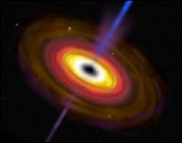 Le disque d'accrétion entourant un trou noir et son jet de rayonnements caractéristique. Document T.Lombry.