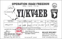 QSL d'un militaire américain radio amateur en mission en Irak.