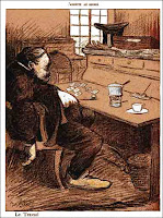 Image satirique du fonctionnaire au début du siècle dernier. Dessin de E.Cadel publié dans 'L'assiette au beurre'.