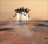 La sonde Phoenix arrivant sur Mars le 25 mai 2008. Document NASA.