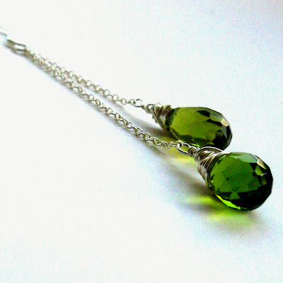 chartreuse coloured faceted briolette earrings