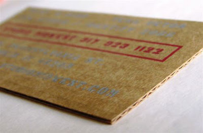 unique and original corrugated card business card