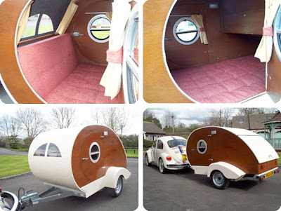 retro small vintage campervan in teardrop shape