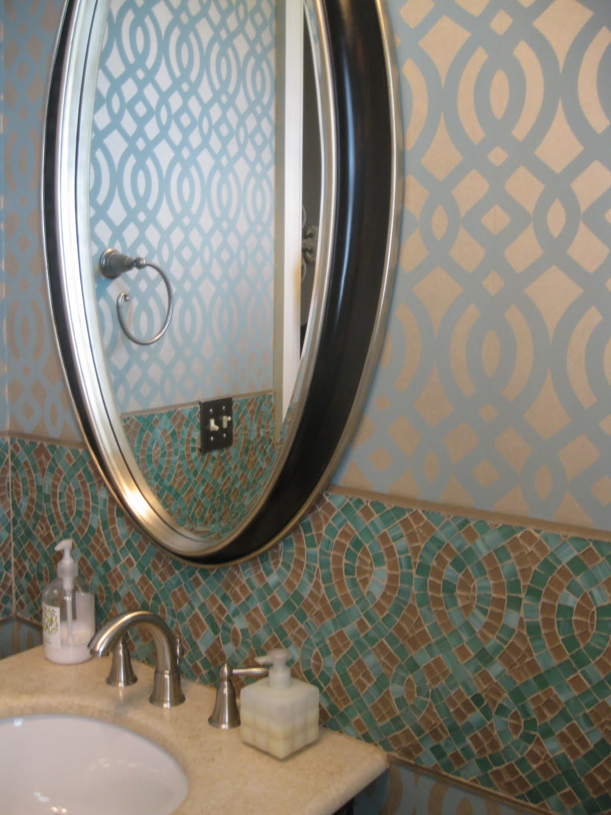 Angela Pence Interior Design: Before & After Powder Room with Custom  Backsplash