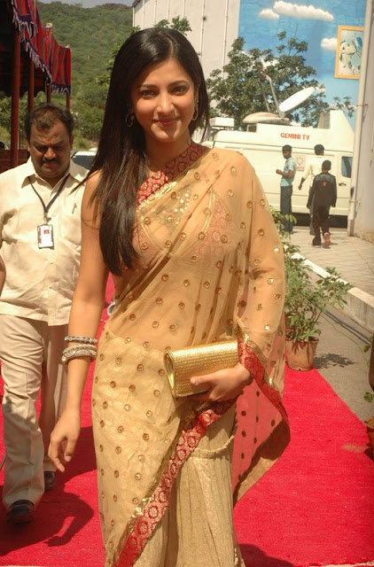 Shruti Hassan Transparent Saree Photos