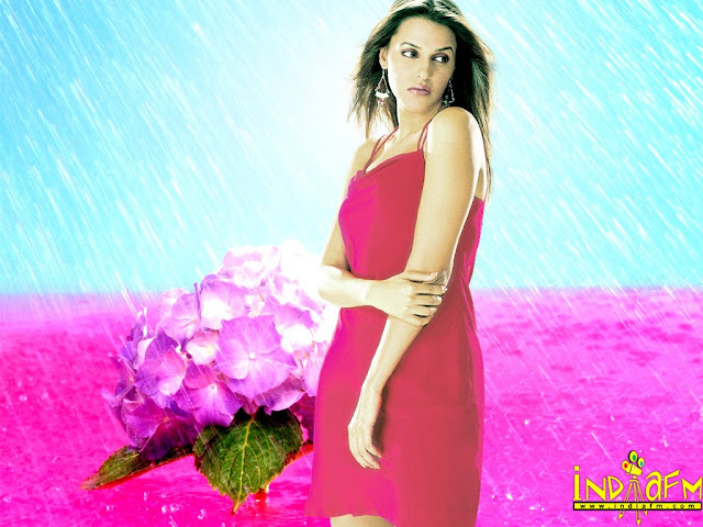 Neha Duphia Hot Red Dress Wallpapers