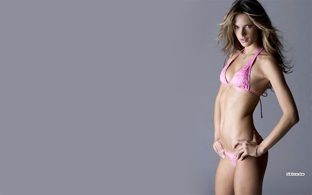 Hot Model Alessandra Ambrosio In Sexy Pink Bikini