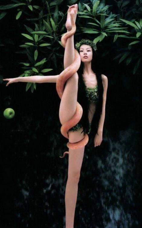 snake asian girl