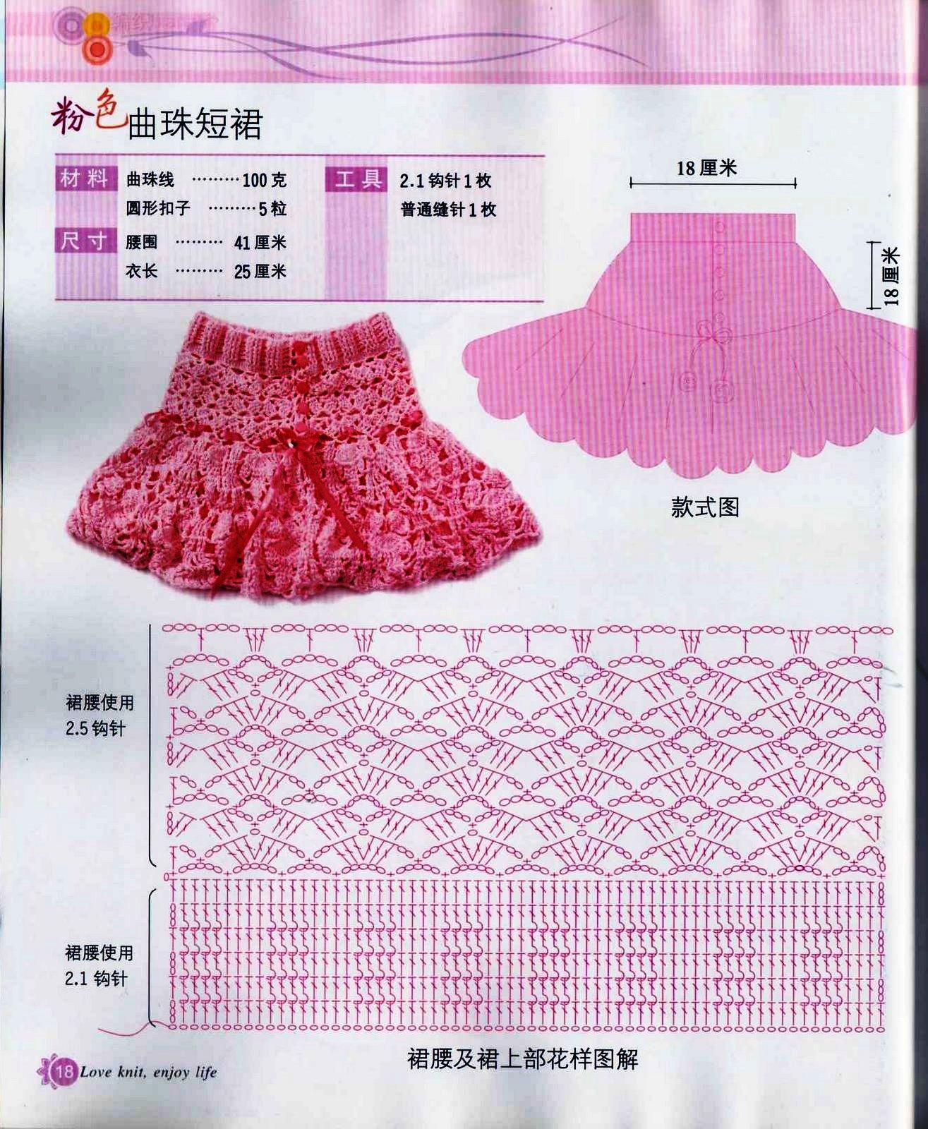 Схемы вязания крючком детских юбочки