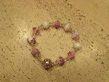 Pulsera plata, cristales, perlas de murano.