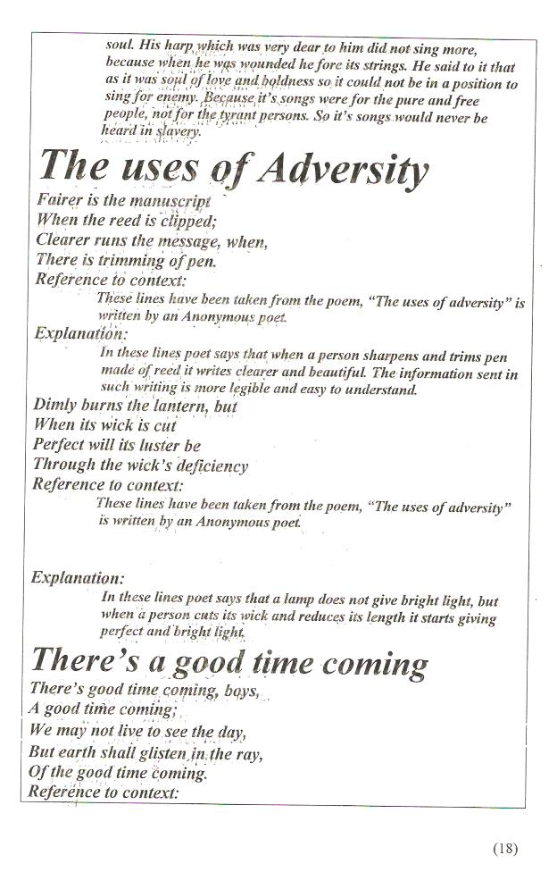 Of adversity summary