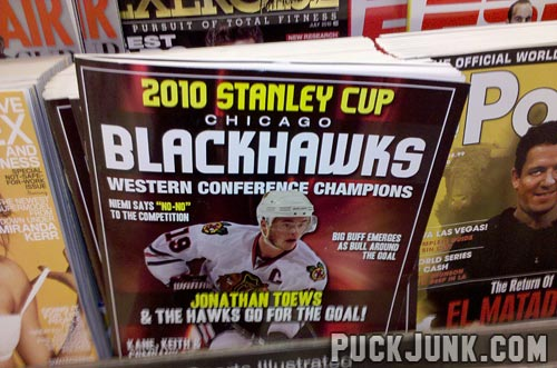 Blackhawks mania sweeps chicago puck junk for Patrick kane mullet shirt