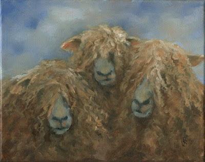DEBRA J. SEPOS ART: Wooly Wensleydale Trio, Sheep