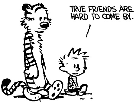 """True friends are hard to come by"" (Calvin & Hobbes comic)"