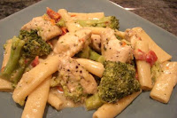 Skillet Chicken with Broccoli, Pasta, and Parmesan Cheese