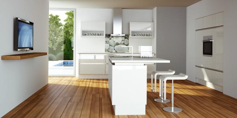 Mobila si stil insula de bucatarie cu loc de luat masa for Television in the kitchen ideas