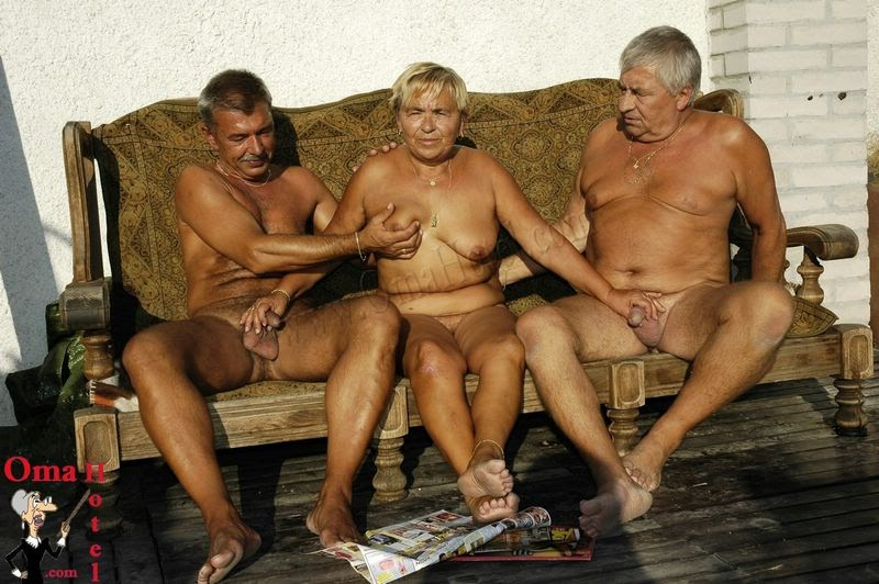 Omahotel two guys playing with one hairy grandma 6