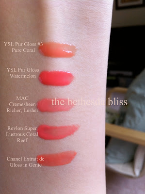 The Bethesda Bliss: YSL Gloss Pur in #3 Pure Coral, #8 Pure Watermelon