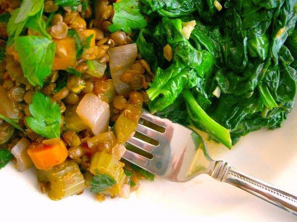 Wine-Braised Lentils with Garlic Sautéed Spinach