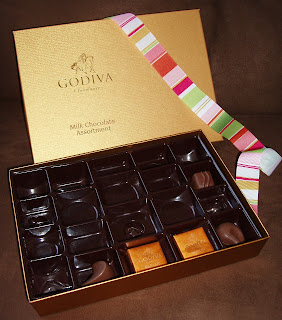 Almost empty Godiva chocolate box