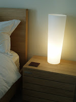 Crate & Barrel Marina table lamp and Elan nightstand