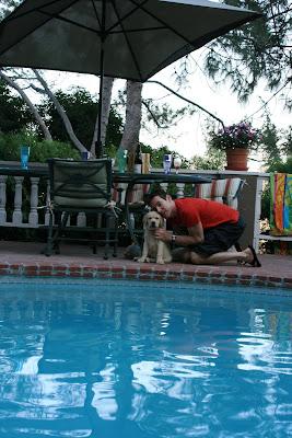 Charlie & Cooper poolside