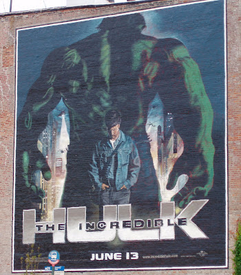 The Incredible Hulk movie wall mural in New York City