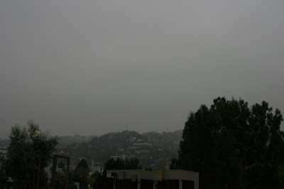 Dreary L.A. view of Hollywood Hills