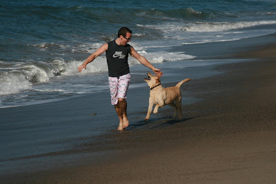 Jason and Cooper having fun at the beach