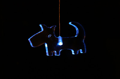Christmas dog light decoration in blue