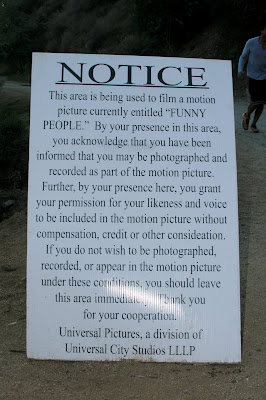 Funny People movie filming at Runyon Canyon