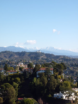 Griffith Observatory snowy mountain view