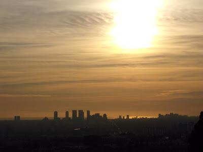 LA City skyline at sunset