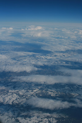 Snowbound Britain from above the clouds