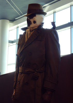 Close up of Rorschach Watchmen movie costume