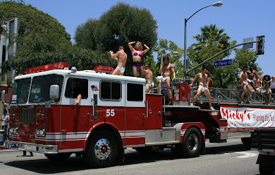 West Hollywood Pride 2008 Mickys Flaming gay bar fire truck