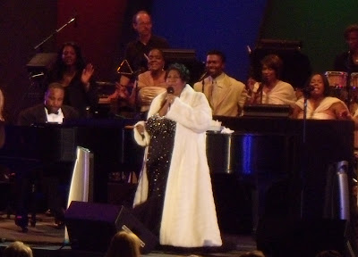 Aretha Franklin on stage at The Hollywood Bowl