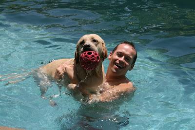 Cooper and Jason pool fun