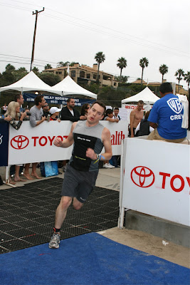 Charlie finishing Malibu Triathlon 2009