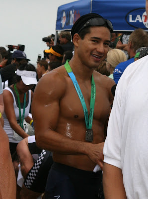 Sweaty Mario Lopez after Malibu Triathlon