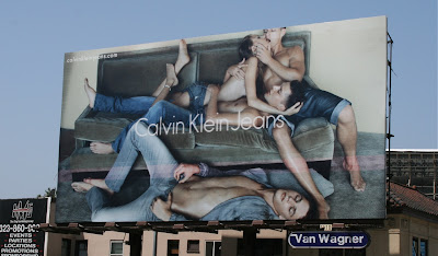 Calvin Klein racy male model billboard