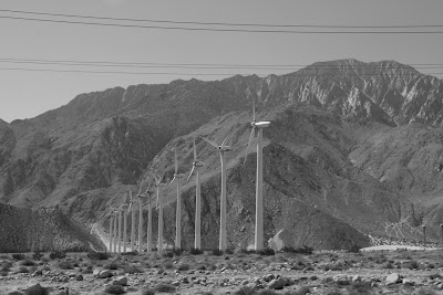 Palm Springs wind turbines in mono