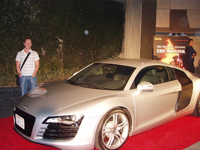 Jason with Tony Stark's car from Iron Man movie