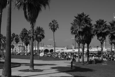 Busy Venice Beach in mono