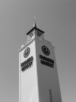 Farmers Market clock tower in mono
