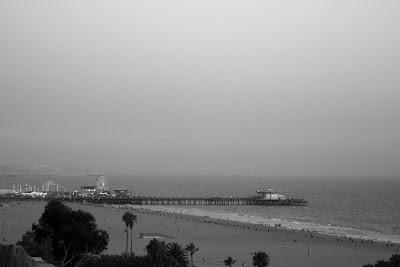 Santa Monica Pier in mono