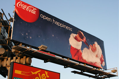 Coca Cola Open Happiness Santa Billboard Christmas 2009
